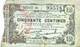 Banknotes Fourmies (59). Bon Régional des Départ. du Nord, Aisne & Oise. Billet. 50 cmes 8.5.1915, série 36