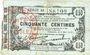 Banknotes Fourmies (59). Bon Régional des Départ. du Nord, Aisne & Oise. Billet. 50 cmes 8.5.1915, série 42