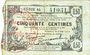 Banknotes Fourmies (59). Bon Régional des Départ. du Nord, Aisne & Oise. Billet. 50 cmes 8.5.1915, série 44