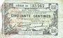 Banknotes Fourmies (59). Bon Régional des Départ. du Nord, Aisne & Oise. Billet. 50 cmes 8.5.1915, série 56