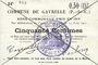 Banknotes Gavrelle (62). Commune. Billet. 50 cmes 22.8.1915, papier vergé