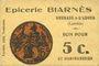 Banknotes Grenade-sur-l'Adour (40). Epicerie Biarnès. Billet. 5 centimes