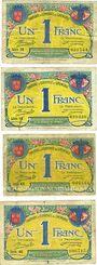 Banknotes Grenoble (38). Billet. 1 franc 8.11.1917 (4x), série 16, 18, 43 et 46