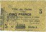 Banknotes Guise (02). Ville. Billet. 5 francs 10.2.1915, série A, cachet au dos : TRESOR POSTES / 234