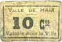 Banknotes Ham (80). Ville. Billet. 10 centimes