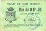 Banknotes Ham (80). Ville. Billet. 50 centimes