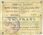 Banknotes Harnes (62). Commune. Billet. 1 franc 20.2.1915, série D