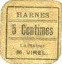 Banknotes Harnes (62). Commune. Billet. 5 centimes