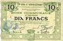 Banknotes Hénin-Liétard (62). Ville. Billet. 10 francs 6.3.1916, série A, annulation par perforation