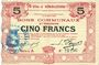Banknotes Hénin-Liétard (62). Ville. Billet. 5 francs 6.3.1916, série A