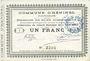 Banknotes Heninel (62). Commune. Billet. 1 franc 4.4.1915