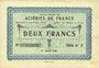 Banknotes Isbergues (62). Société Anonyme des Aciéries de France. Billet. 2 francs 1.1.1920, série 2