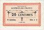 Banknotes Isbergues (62). Société Anonyme des Aciéries de France. Billet. 25 centimes (1.3.1917), série 2
