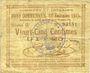 Banknotes Lallaing (59). Commune. Billet. 25 centimes 13.11.1914, 12e émission 1915, série G