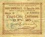 Banknotes Lallaing (59). Commune. Billet. 25 centimes 13.11.1914, 15e émission 1915, série G