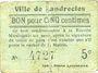 Banknotes Landrecies (59). Ville. Billet. 5 centimes