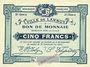 Banknotes Lannoy (59). Ville. Billet. 5 francs, 3e série, essai, sans numérotation. Cachet Spécimen