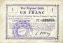 Banknotes Lavaqueresse (02). Commune. Billet. B.R.U., 1 franc