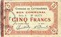 Banknotes Le Cateau (59). Comité d'Alimentation. Billet. 5 francs 12.12.1915, série A.