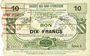 Banknotes Le Cateau (59). Société des Bons d'Emission. Billet. 10 francs, série 6