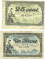 Banknotes Le Puy (43). Chambre de Commerce. Billets. 25 centimes, 1 franc 10.10.1916, série C