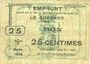 Banknotes Le Quesnoy (59). Ville et Etablissements Charitables. Billet. 25 centimes mars 1915