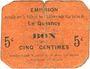 Banknotes Le Quesnoy (59). Ville et Etablissements Charitables. Billet. 5 centimes