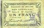 Banknotes Lécluse (59). Commune. Billet. 1 franc, série A, papier verdâtre, cachet Nov(?) 1916