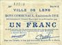 Banknotes Lens (62). Ville. Billet. 1 franc 14.11.1914, série A