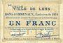 Banknotes Lens (62). Ville. Billet. 1 franc 14.11.1914