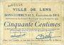 Banknotes Lens (62). Ville. Billet. 50 centimes 14.11.1914