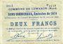 Banknotes Lewarde (59). Commune. Billet. 2 francs 13.1.1915, série D