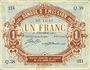 Banknotes Lille (59). Banque d'Emission. Billet. 1 franc 30.12.1914, série Q