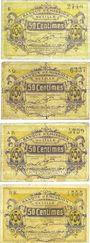 Banknotes Lille (59). Banque d'Emission. Billets. 50 cmes janvier 1915 (4 ex), série E, AQ, AR, BK
