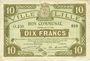 Banknotes Lille (59). Ville. Billet. 10 francs 28.11.1916, série O