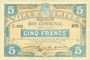 Banknotes Lille (59). Ville. Billet. 5 francs 11.4.1917, série C