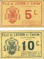 Banknotes Luchon (31). Ville et Canton. Billets. 5 centimes, 10 centimes