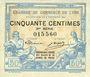 Banknotes Lyon (69). Chambre de Commerce. Billet. 50 centimes 9.9.1915, 3e série