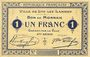 Banknotes Lys-Lez-Lannoy (59). Ville. Billet.1 franc 3e série. Essai sans numérotation ni cachet de la commune