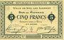 Banknotes Lys-Lez-Lannoy (59). Ville. Billet. 5 francs, 3e série. Sans numérotation ni cachet de la commune...