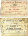 Banknotes Malincourt (59). Commune. Billets. 1 franc, 2 francs 10.3.1915