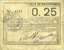 Banknotes Marchiennes (59). Ville. Billet. 25 centimes 1915