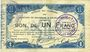 Banknotes Maubeuge & Solre-le-Château (59). Syndicat des Communes. Billet. 1 franc 11.3.1915