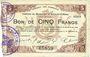 Banknotes Maubeuge & Solre-le-Château (59). Syndicat des Communes. Billet. 5 francs 11.3.1915