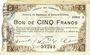 Banknotes Maubeuge & Solre-le-Château (59). Syndicat des Communes. Billet. 5 francs 22.9.1915