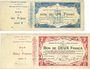 Banknotes Maubeuge & Solre-le-Château (59) Syndicat des Communes. Billets 1, 2, 5, 20 francs, séries 2, 6, 1,3