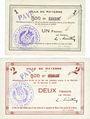 Banknotes Mayenne (53). Ville. Billet. 1 franc, 2 francs. Annulation manuscrite et par cachet PAYE