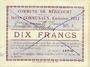 Banknotes Méricourt (62). Commune. Billet. 10 francs , émission 1915, série G, Bon annulé ...