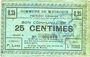 Banknotes Meurchin (62). Commune. Billet. 25 centimes 10.5.1915, série E