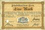 Banknotes Mulhouse (68). Ville. Billet 1 mark 10.9.1914. Annulé par perforation
